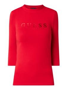 Czerwona bluzka Guess z długim rękawem z bawełny