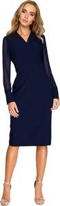 Niebieska sukienka Style z szyfonu ołówkowa z dekoltem w kształcie litery v
