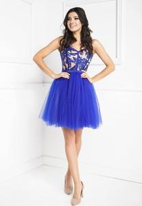 Niebieska sukienka Marcelini gorsetowa z tiulu