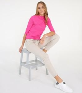 Różowa bluzka Unisono w stylu casual z okrągłym dekoltem z długim rękawem
