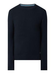 Granatowy sweter Tom Tailor z okrągłym dekoltem z bawełny w stylu casual