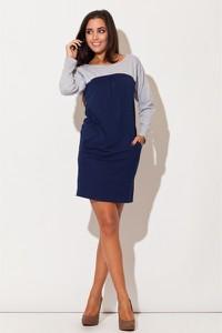 Niebieska sukienka Katrus mini z okrągłym dekoltem z bawełny