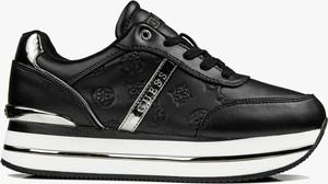 Czarne buty sportowe Guess z płaską podeszwą sznurowane
