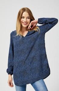 Granatowa bluzka Moodo z długim rękawem w stylu casual