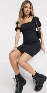Czarna sukienka New Look z jeansu mini z krótkim rękawem