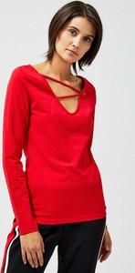 Czerwona bluzka Moodo z długim rękawem