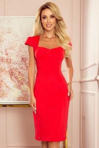 Czerwona sukienka NUMOCO z krótkim rękawem midi z dekoltem w kształcie litery v