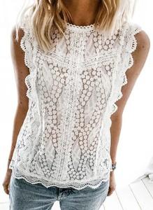 Bluzka Sandbella w stylu boho z krótkim rękawem