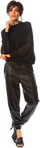 Czarna bluzka Saint Germain Paris z długim rękawem w stylu casual z okrągłym dekoltem