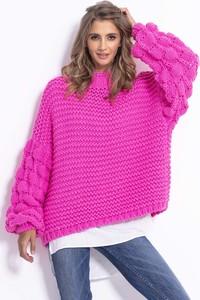 Różowy sweter Fobya w stylu casual