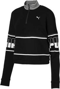 Czarna bluza Puma z dzianiny krótka w sportowym stylu