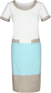 Sukienka Fokus z krótkim rękawem z okrągłym dekoltem midi
