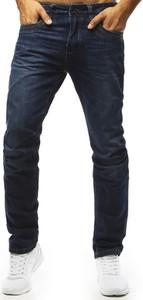 Granatowe jeansy Dstreet z bawełny w stylu casual