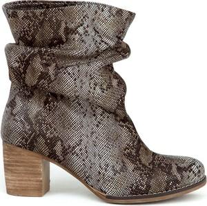Brązowe botki Zapato w stylu casual ze skóry na obcasie