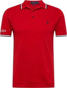 Czerwona koszulka polo POLO RALPH LAUREN z krótkim rękawem z bawełny