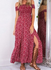 Czerwona sukienka Cikelly z krótkim rękawem maxi