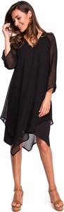 Czarna sukienka Merg z szyfonu asymetryczna midi