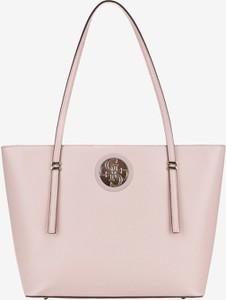 Różowa torebka Guess duża z bawełny