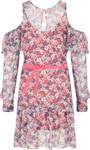 Różowa sukienka Twinset z długim rękawem mini