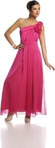 Różowa sukienka Fokus maxi z asymetrycznym dekoltem bez rękawów