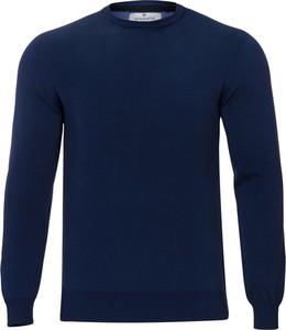 Niebieski sweter WARESHOP z okrągłym dekoltem z bawełny w stylu casual