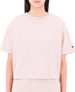 Różowa bluzka Champion z krótkim rękawem z bawełny