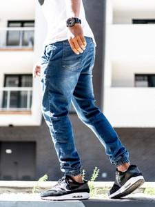 Niebieskie jeansy Grube Lolo z bawełny