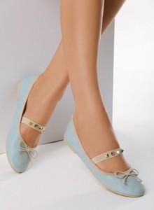 Niebieskie baleriny born2be z płaską podeszwą