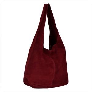 Czerwona torebka Borse in Pelle duża ze skóry zamszowa
