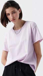 Fioletowy t-shirt Cropp z krótkim rękawem