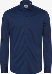 Niebieska koszula Eterna Premium z klasycznym kołnierzykiem w stylu casual z dżerseju