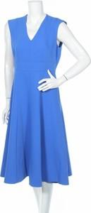 Niebieska sukienka Hobbs London bez rękawów z dekoltem w kształcie litery v midi