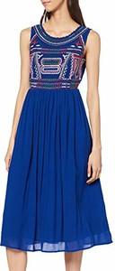 Niebieska sukienka amazon.de bez rękawów z okrągłym dekoltem rozkloszowana
