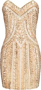 Złota sukienka La Poudre™ gorsetowa bez rękawów