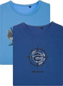Niebieski t-shirt LANCERTO z nadrukiem z bawełny w młodzieżowym stylu