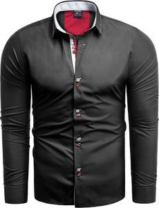 Czarna koszula Risardi z długim rękawem z klasycznym kołnierzykiem