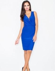 Niebieska sukienka Figl dopasowana