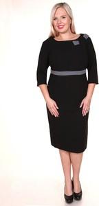Czarna sukienka Fokus z okrągłym dekoltem w stylu glamour midi