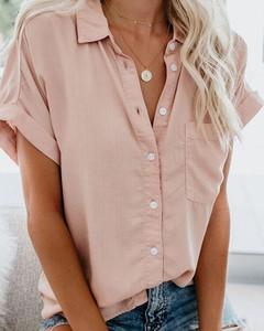 Różowa bluzka Kendallme z bawełny z dekoltem w kształcie litery v