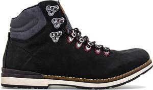 Czarne buty zimowe Tommy Hilfiger ze skóry w street stylu sznurowane