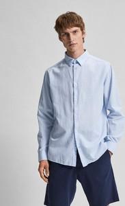 Niebieska koszula Selected Homme w stylu casual z klasycznym kołnierzykiem z lnu