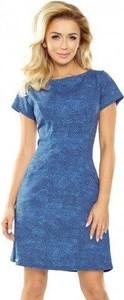 Niebieska sukienka NUMOCO z krótkim rękawem z okrągłym dekoltem w młodzieżowym stylu