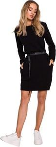 Czarna sukienka MOE mini w stylu casual z długim rękawem