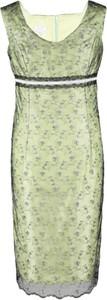 Zielona sukienka Fokus bez rękawów w stylu glamour dopasowana