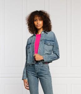 Niebieska kurtka Armani Exchange w stylu casual krótka z jeansu