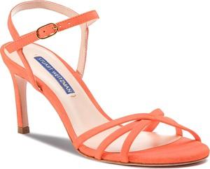 Pomarańczowe sandały Stuart Weitzman w stylu klasycznym na średnim obcasie ze skóry