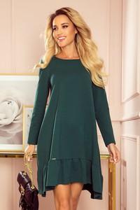 Zielona sukienka NUMOCO trapezowa mini z bawełny