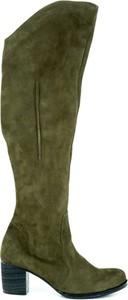 Zielone kozaki Zapato na obcasie za kolano na zamek