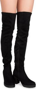 Czarne kozaki L.lux.shoes z tkaniny na obcasie na zamek