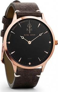 Zegarek KING HOON na brązowym pasku - czarno-złota tarcza